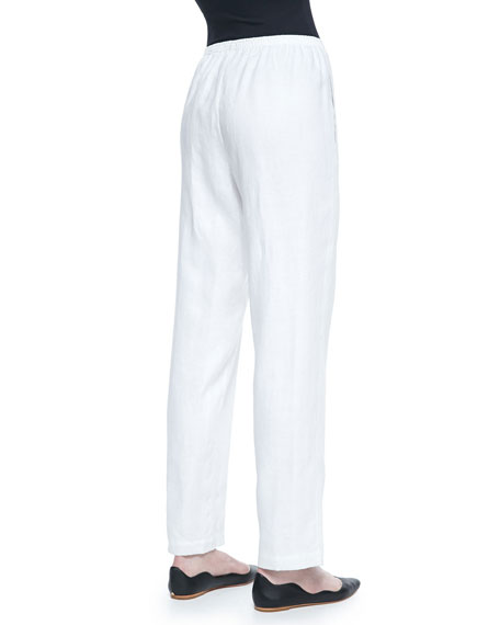 Straight-Leg Lined Linen Pants, Plus Size