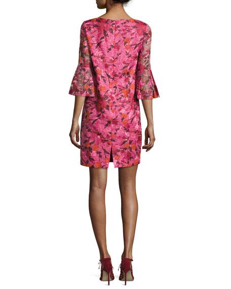 3/4-Sleeve Floral Silk Shift Dress, Pink