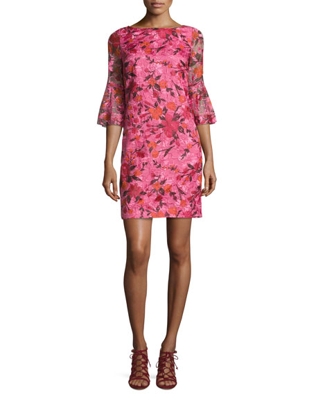 Badgley Mischka 3/4-Sleeve Floral Silk Shift Dress, Pink