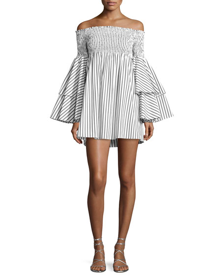 Apollonia Off-the-Shoulder Striped Dress, White/Black