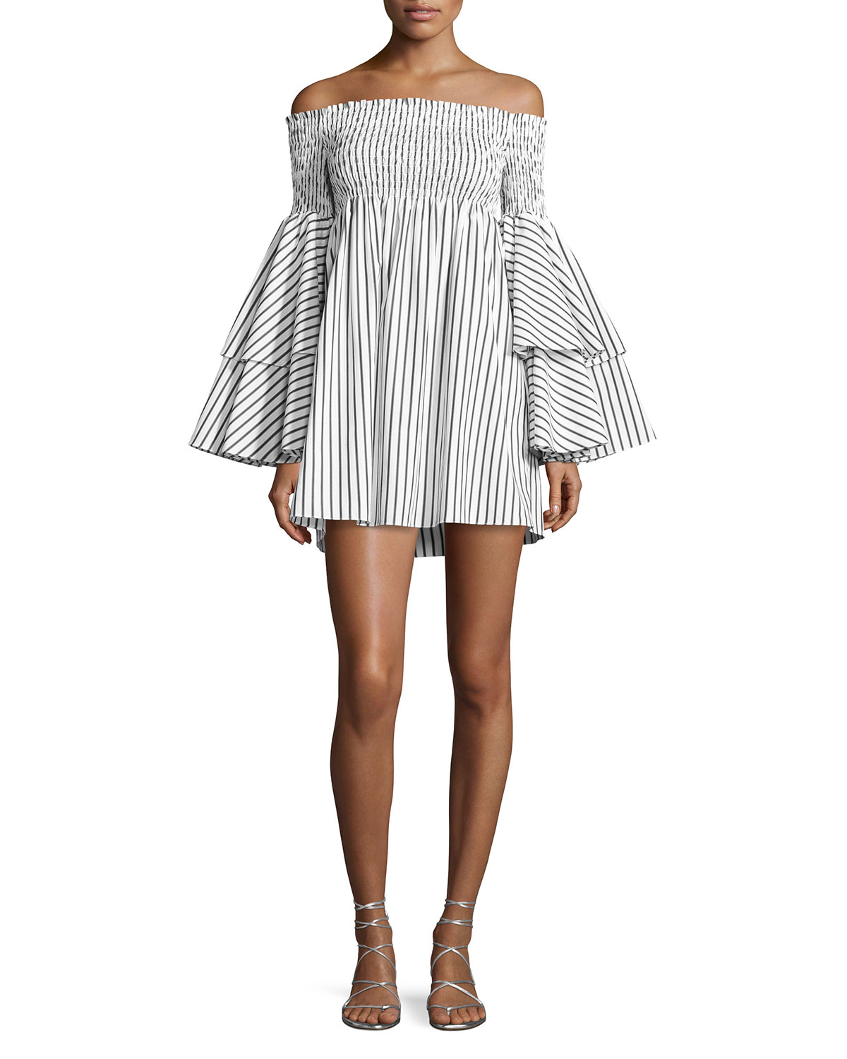 Striped stretch cotton dress Caroline Constas Cheap Sale Sast Clearance Visit New 8g5im