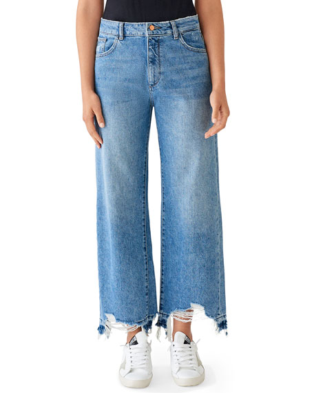 DL1961 Premium Denim Hepburn High-Rise Wide-Leg Jeans with Shredded Hem, Slate