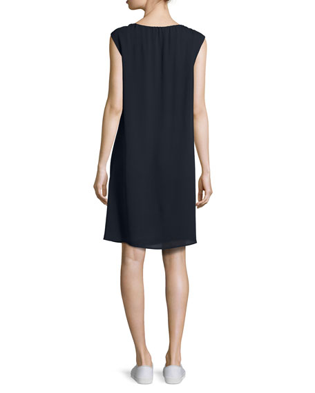 Vernavan Classic Georgette Tie-Neck Shift Dress