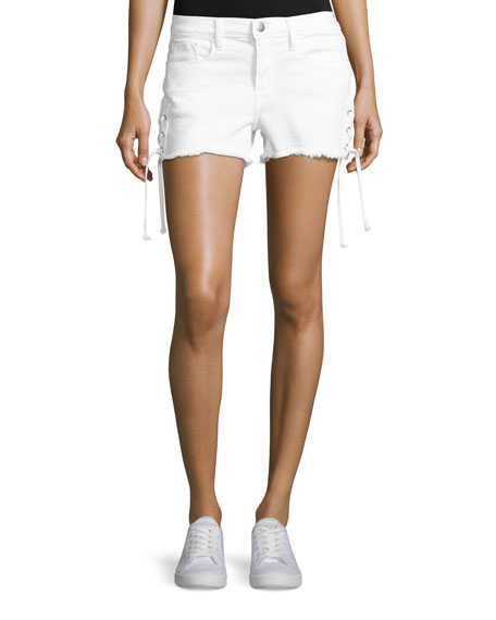 FRAME Le Cutoff Lace-Up Denim Shorts, Blanc