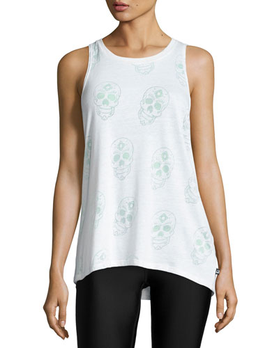 Sugar Skull Burnout Racerback Tank Top  White