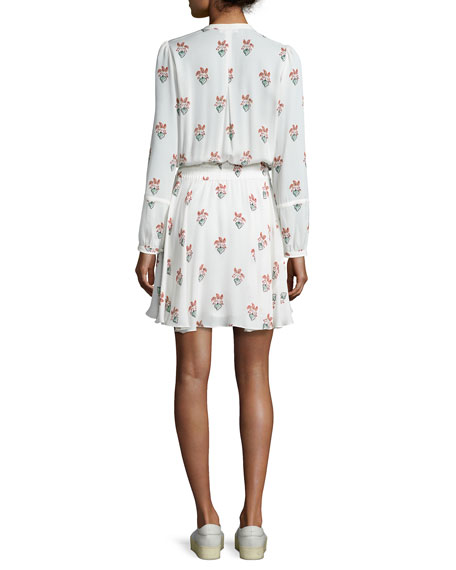 Dasha Long-Sleeve Printed Silk Dress