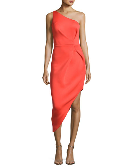 One-Shoulder Asymmetric Crepe Sheath Dress