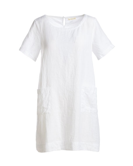 Short-Sleeve Organic Linen Dress