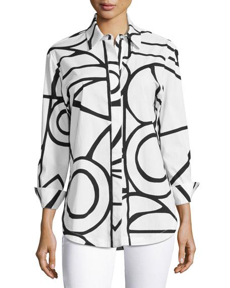 Graphic-Print Blouse, White/Black, Plus Size