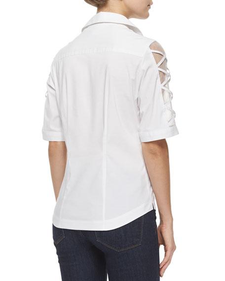Plus Size Burnout-Sleeve Button-Front Blouse