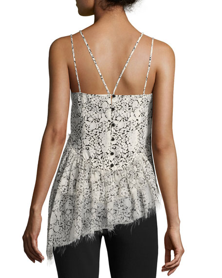 Yelena Floral Tiered Raw-Edge Camisole Top, Black/White