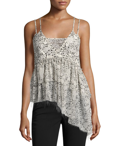 cinq a sept Yelena Floral Tiered Raw-Edge Camisole