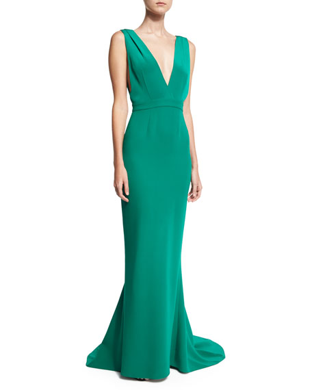 Diane von Furstenberg Deep V Sleeveless Tailored Gown