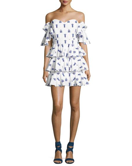Irene Ruffled Cotton Dress, Blue