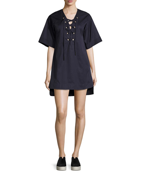 A-line Shirting Lace-Up Dress, Navy