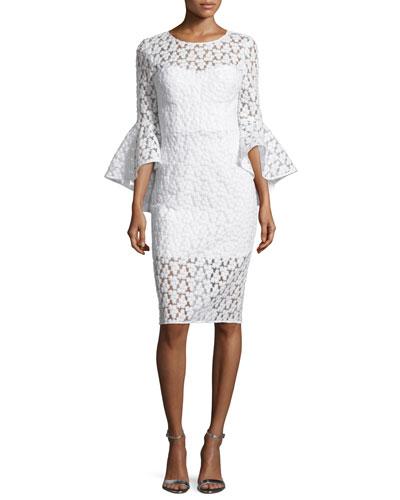 Anya Bell-Sleeve Embroidered Sheath Dress, White