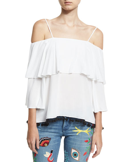 Meagan Off-the-Shoulder Pompom-Trim Top