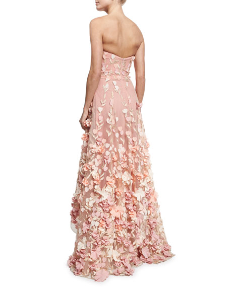 Strapless High-Low Floral Tulle Gown, Blush
