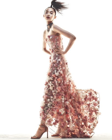 marchesa notte strapless highlow floral tulle gown blush
