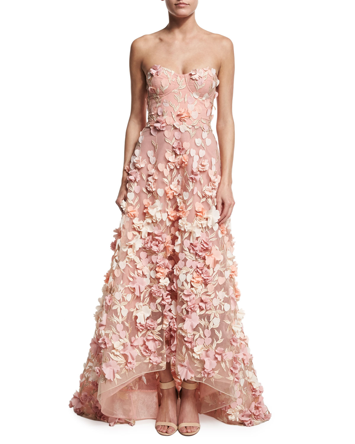 Marchesa Notte Strapless High-Low Floral Tulle Gown, Blush | Neiman ...