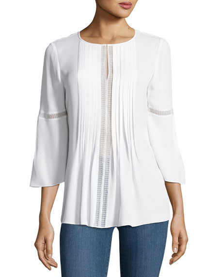 Orion Bell-Sleeve Silk-Georgette Blouse