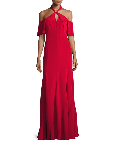 Gayle Cold-Shoulder Silk Crepe de Chine Gown