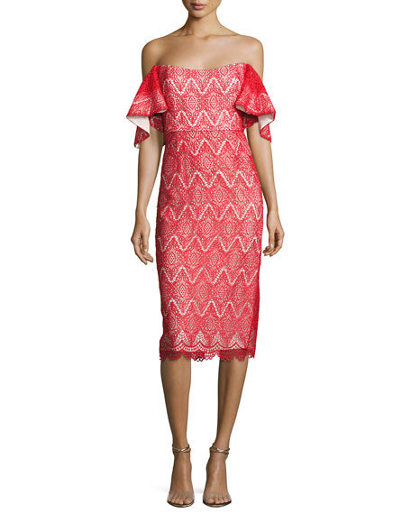 Hawley Off-the-Shoulder Geometric Lace Cocktail Dress, Bright Red