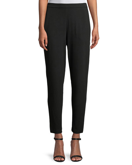 Eileen Fisher Slim Slouchy Ankle Pants, Black and