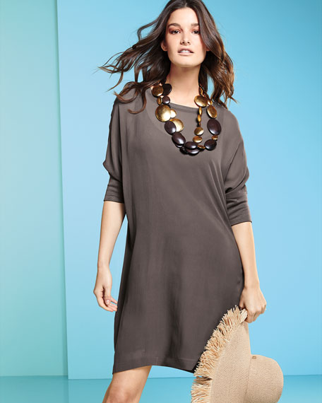 Silk Georgette Round-Neck Shift Dress, Petite