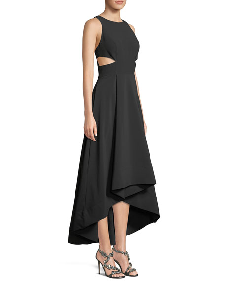 Image 3 of 3: Cutout Stretch Crepe High-Low Gown