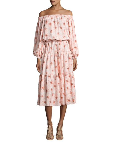 Alexis Tilia Floral-Print Off-the-Shoulder Midi Dress, Pink