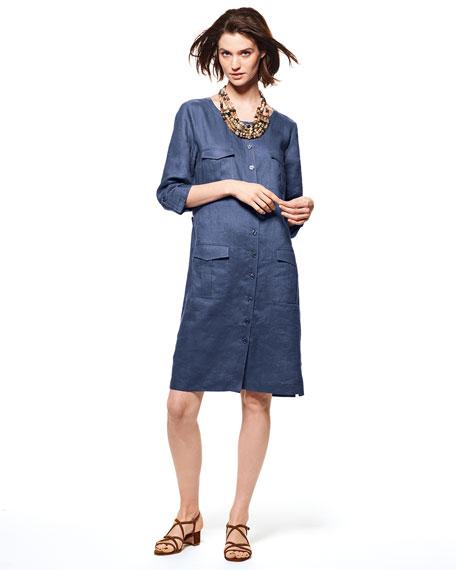 Plus Size Linen Pocket-Front Shirtdress
