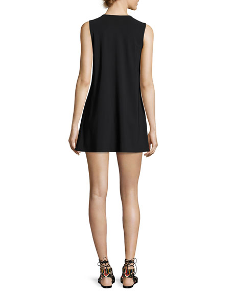 Prisma Round-Neck Coverup Mini Dress, Black