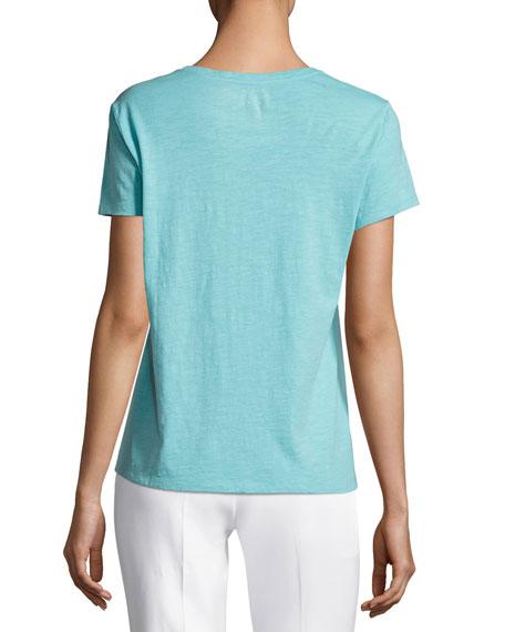 Slubby Organic Cotton Short-Sleeve Top, Plus Size