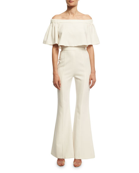 Hadid Off-the-Shoulder Ponte Flare-Leg Jumpsuit