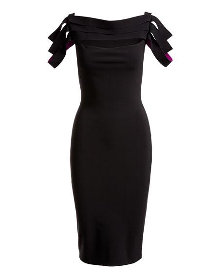 Stana Sleeveless Draped Ribbon Cocktail Dress