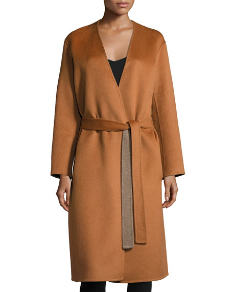 Reversible Belted Robe Coat, Sepia/Heather