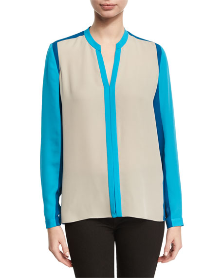 Layne Long-Sleeve Colorblocked Silk Blouse