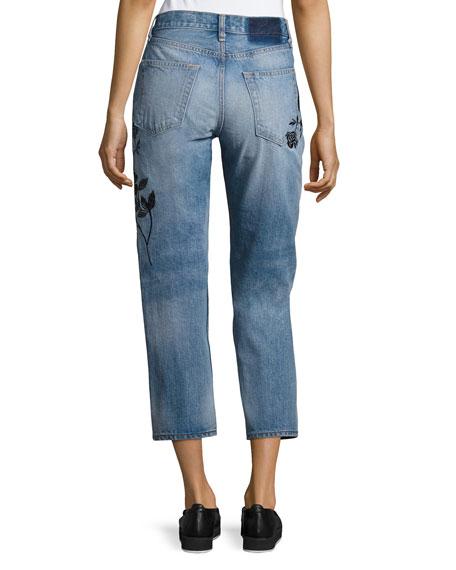 Ramona Embroidered Marilyn Crop Jeans, Indigo