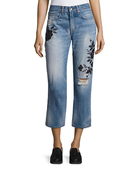 rag & bone/JEAN Ramona Embroidered Marilyn Crop Jeans,