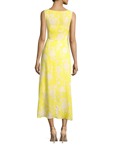 Katherina Sleeveless Maxi Dress, Yellow Pattern