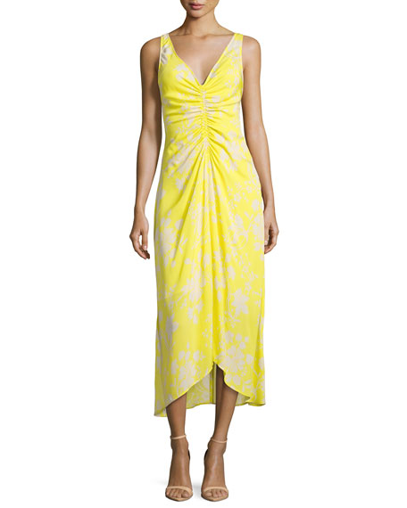 A.L.C. Katherina Sleeveless Maxi Dress, Yellow Pattern