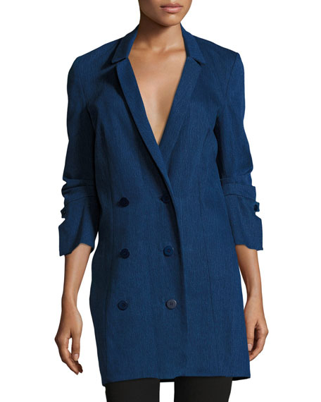 Halston Heritage Double-Breasted Denim Shirtdress