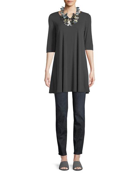 Eileen Fisher Plus Size Organic Cotton Soft Stretch-Denim Leggings