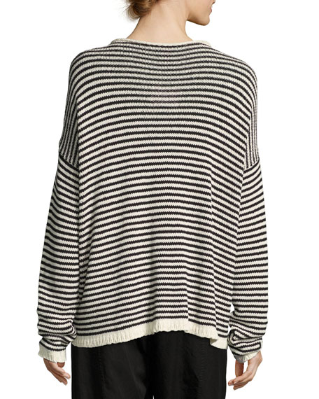 Eileen Fisher Cozy Striped Box Top, Soft White/Black