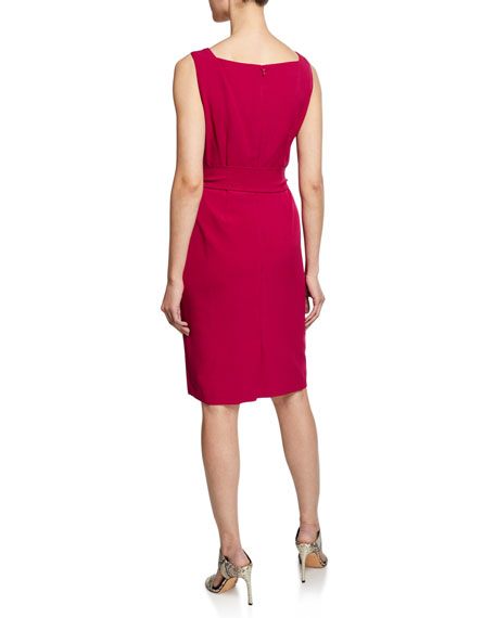 Albert Nipon Belted Sheath Dress W/Matching Jacket, Raspberry