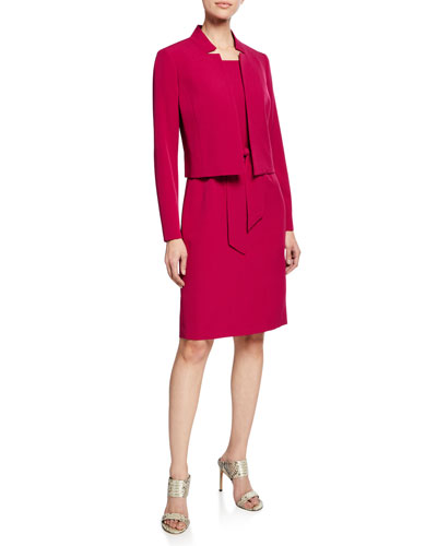 Belted Sheath Dress W/Matching Jacket, Raspberry