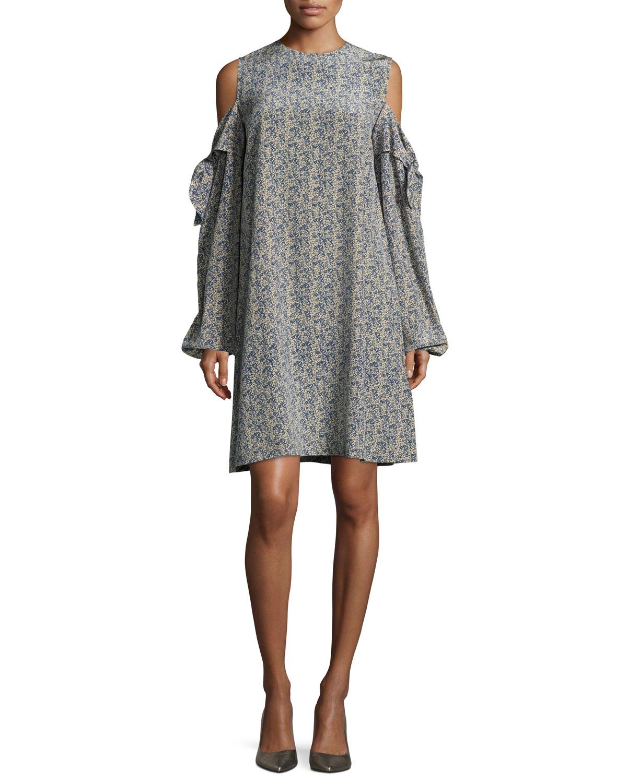 e9c042a1ce Robert Rodriguez Cold-Shoulder Silk Mini Dress