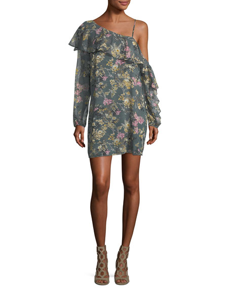 Your Girl Asymmetric Floral Silk Dress, Multi