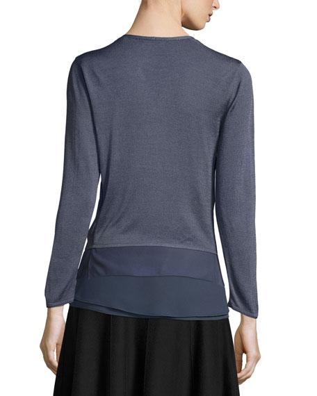 Long-Sleeve Knit Cardigan W/ Chiffon Trim, Plus Size